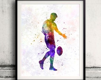 Rugby man player 02 - poster watercolor wall art gift splatter sport soccer illustration print artistic - SKU 1499
