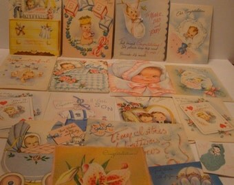 Lot of 17 Vintage Congratulations First Baby Greeting Cards
