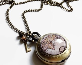 Saltire shows Pocket * travel * world map, cabochon glass and bronze