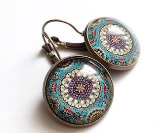 bronze earrings * Pondicherry * mandala ethnic Indian, blue, glass cabochon