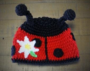 Ladybug Crochet Hat - Handmade to Order - Newborn to Adult