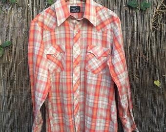 Men's Vintage 1970s Champion Westerns Button Down Orange and Sage Green Plaid Southwestern Shirt