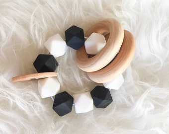Wooden teether Silicone Teethers Waldorf Toy Monochrome Toy Montessori Teether Infant Teethers Baby Teether Bead Teether baby toy  Baby Sho