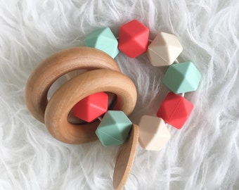 Baby Gift Natural Teether Organic Baby Toy Coral Mint Teether Infant Teether Wooden Teether Silicone Teether Sensory Teether Sensory Toy Bab