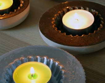 Cement candle holders
