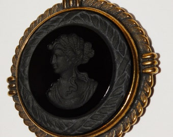 "XTASIA Black Glass Bronze Intaglio In a Large Round Pendant 28"" Chain Necklace."