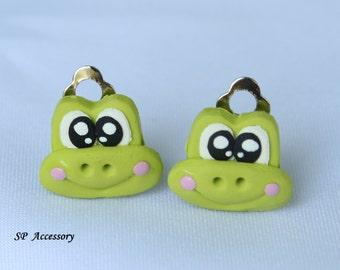 keroro earrings, frog earrings, earrings clip-on, green earrings, clay earrings, earrings clay