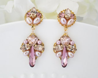 Pink wedding earring, Pink crystal drop earring, Gold bridal earrings, Swarovski crystal and pearl bridal earring