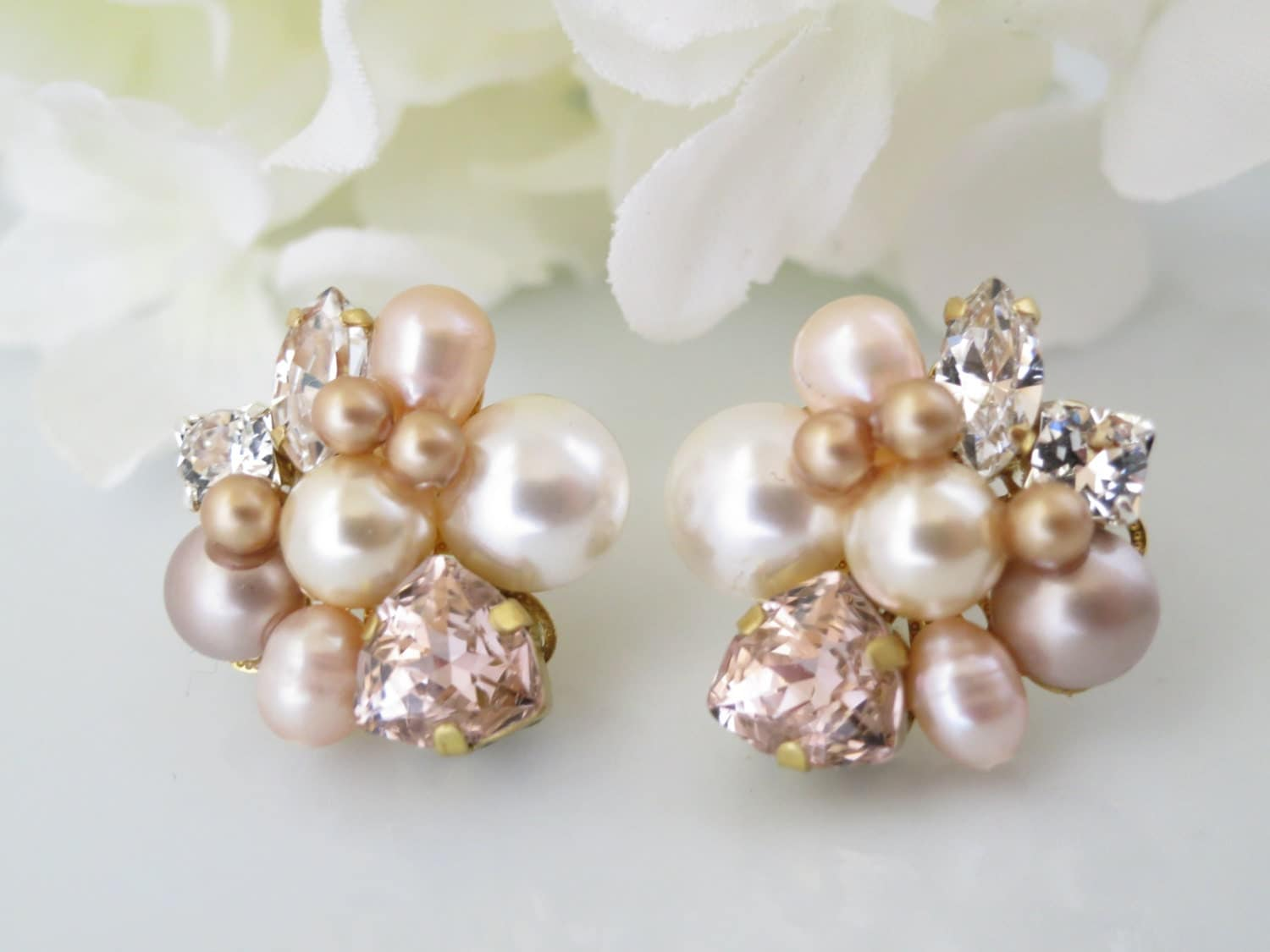 Asymmetrical Gold and Blush post earring, Swarovski crystal and pearl wedding earring, Unique bridal earriing