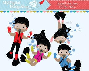 SCUBA Diving Team Clipart, Vector EPS PNG Image, Boy Girl Diving, Under the Life, Kids Swimming Digital, Aquarium Summer Children |C083