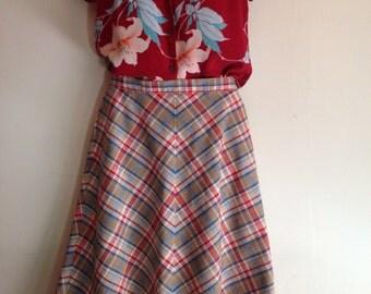 Summer plaid cotton skirt