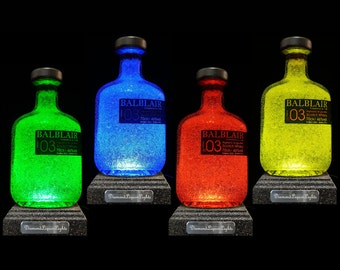 Balblair Whisky Multicolour LED Bottle Lamp. Bar Lighting, Gifts For Men, Bottle Light, Mood Lighting, LED Lighting. DiamondLiquorLights