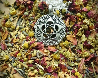 "Garden Goddess Pentacle Pentagram Necklace on 18"" Chain ~ Handmade, Pewter, Pagan, Witch, Witchcraft, Jewelry, Ritual, Handcrafted, Magick"