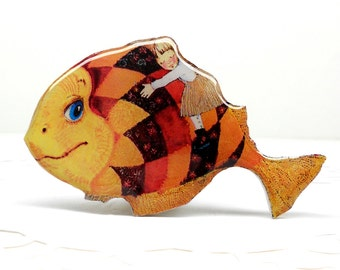 Fish brooch FREE SHIPPING sleeping girl pin, Animal brooch, sea dweller jewelry, fish jewelry clay fish, clay pin fabulous fish.
