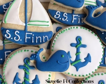 Baby shower cookies NAUTICAL themed Cookies // Baby Shower // Birthday Party // Sailboat // Anchor // Ocean // Whales // Decorated Cookies /