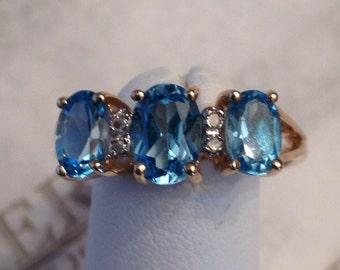 For devon Vintage 14k yellow gold band ring 3 Oval Blue Topaz & 4 Diamonds, 1.77 tw Size 7.25
