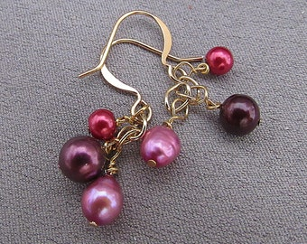 Freshwater Pearl Earrings//Berry Purples//Dangles//Bridesmaid