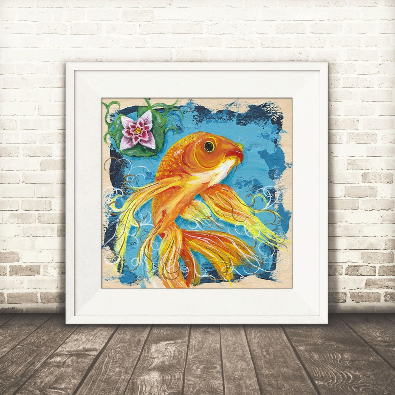 Goldfish print goldfish decor goldfish art koi fish art for Koi fish home decor