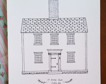 Hawthorne House Line Drawing, reproduction