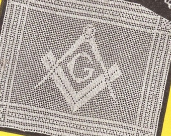 Filet Crochet Masonic Emblem Pattern PDF Instant Download