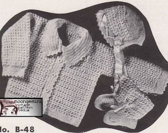 Crochet Baby Infant Set Sacque Bonnet Booties Crochet Pattern Baby Sweater and Cap Shoes Slippers