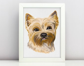 Yorkie print Pet Portrait  Dog Lover Home Decor Personalized Gift Cute Puppy Art Design Clipart Dog Digital Download Clip Art Print PNG