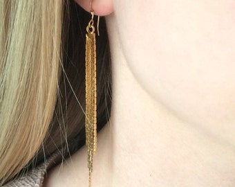 Tassel Earrings, Long Earrings, Simple Dangle Tassel Earrings, Gold Fill or Sterling Silver Earrings