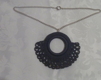 Crocheted necklace with pendant and Amethyst coloured glass beads