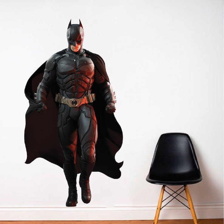 Batman wall and bedroom decal superhero bedroom wall for Dark knight rises wall mural
