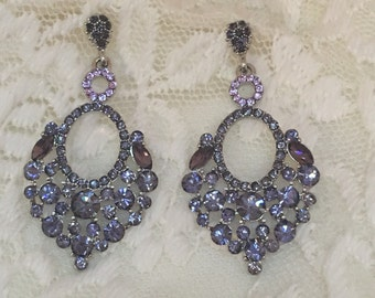 Lavender / Light Purple Rhinestone Dangle  Earrings
