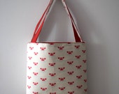 Crab Print Tote Bag, Handmade Beach Tote in Red and White Cotton & Canvas. Flat Bottom Colorful Tote Bag with Interior Pocket and Snap Close