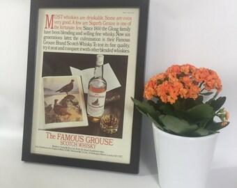 Famous Grouse Vintage Framed Advert, Old Fashioned Whisky Poster, Bar Cafe Restaurant Man Cave Wall Decor,  Unique Gift Him Her Dad Granddad