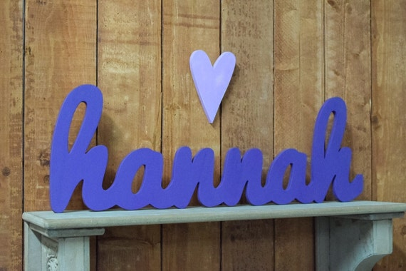 Hannah Wooden baby name sign nursery wall art rustic