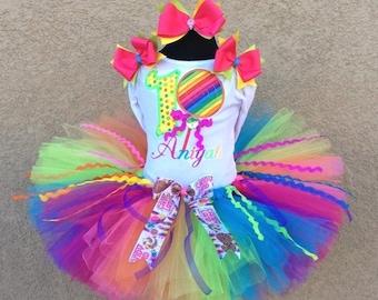 3 Pc Lollipop Rainbow Candy Land  Tutu Set , Top, Tutu and Bow On Headband Ages 1-6, Toddler, Big Girl Sizes 6m-6yr - Candyland Tutu