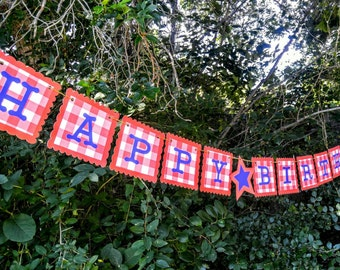 Red Gingham Happy Birthday Banner. Happy Birthday Banner. Red, White and Blue Birthday. Summer Birthday. Barbecue Birthday.