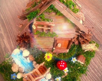 Decorative house with creek, colorfull garden and bridge, fairy garden, fairy bridge, fairy pond, gift idea, fairy accessories, fairy house