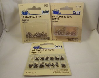 Dritz Hooks & Eyes, 3 Pack Assortment, Vintage