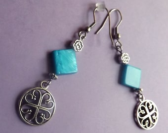 Pearl blue ear Celtic earrings