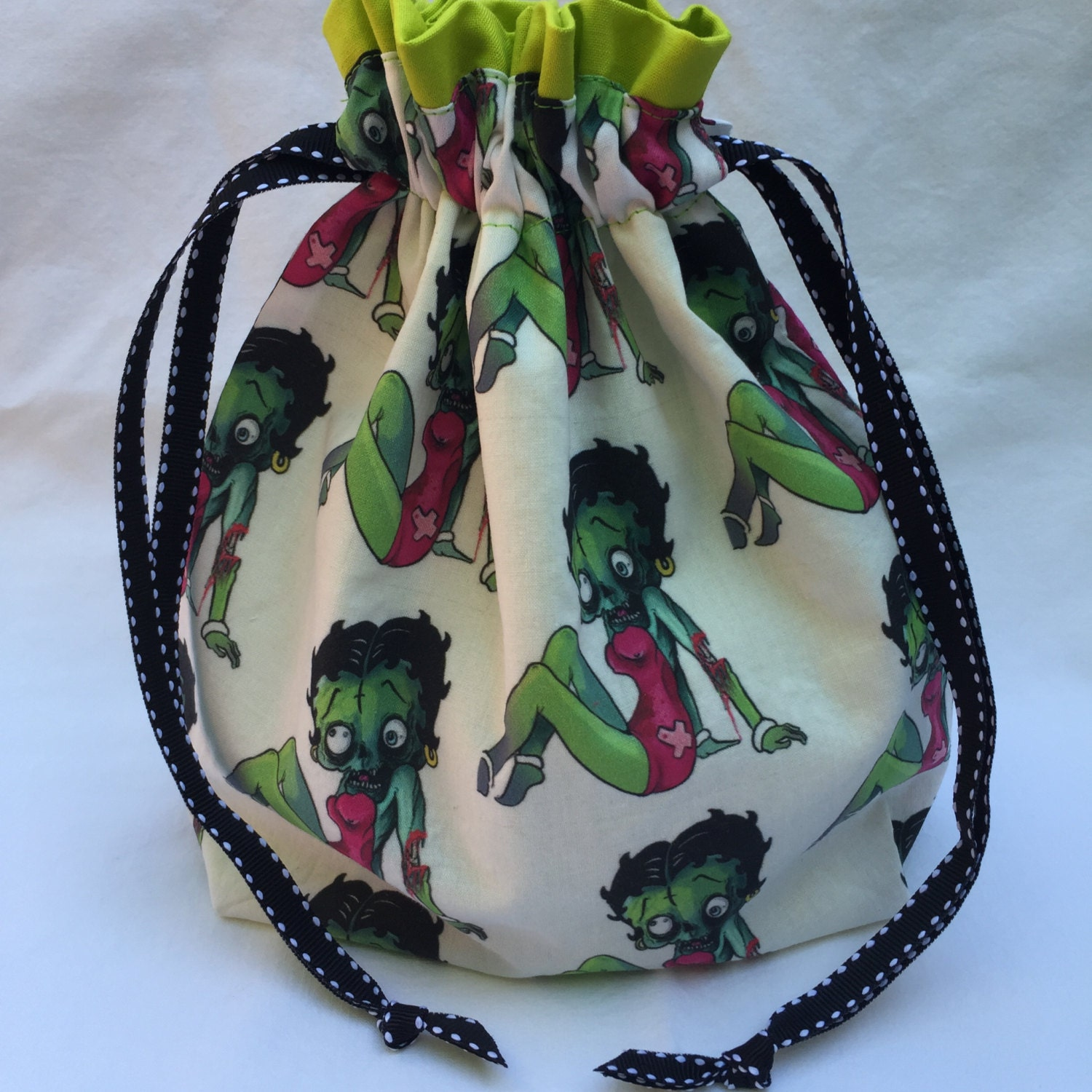 Zombie Knitting Bowl : Zombie betty boop single skein project bag from