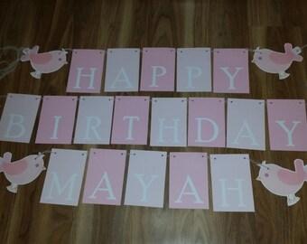 Pink Bird Happy Birthday & 'Name' Custom Made Banner Set
