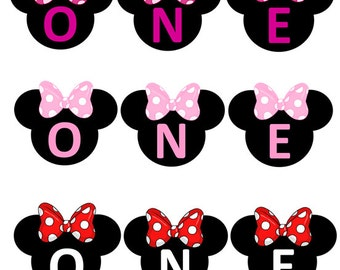 1st First Birthday Custom Made ONE High Chair Smash Cake Photo Shoot Bunting Banner Minnie Mouse Birthday Decor