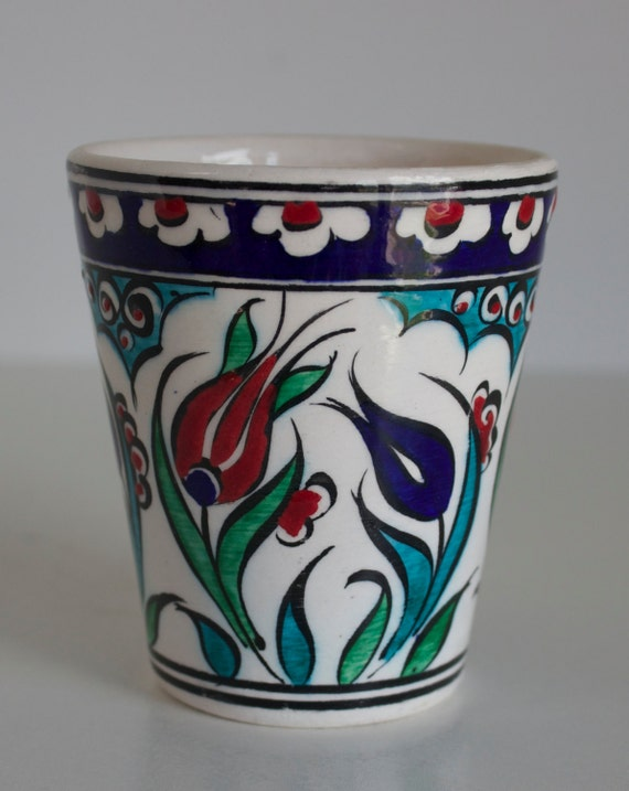 Floral Design Handmade Ceramic Small V Style Coffee- Tea Cup, V Cup, Pottery Cup, Stoneware Coffee Cup, Lead Free Hand Painted Small Cup