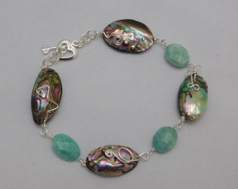 Amazonite, Abalone, and Sterling Silver bracelet