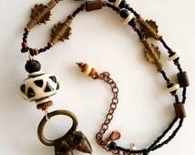 African Brass Pendant and Baule Bead Necklace, Kenyan Bone Bead, Handcrafted, Studio Designed, African Jewelry,