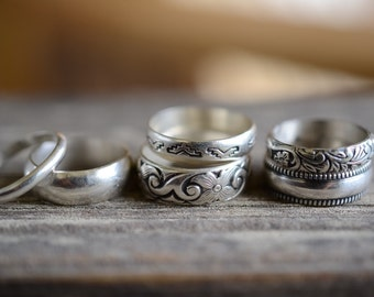 Sterling Silver plain and patterned stackable rings Made to Order