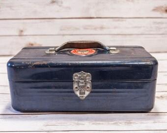 Vintage Simonsen Navy Blue Metal Tackle Box Fishing Metal Tool Box Chicago Illinois