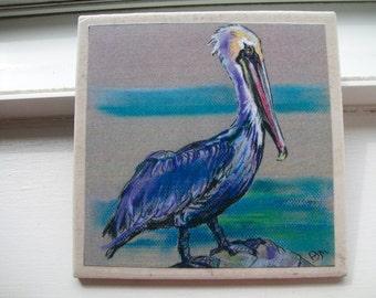 Brown Pelican NoZoo Art Tile