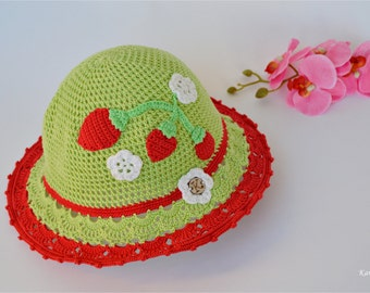 Crochet green summer hat with strawberries for little princess, sun hat made by Karitella