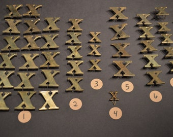 Vintage Solid Brass and Nickel Harness Letters - X