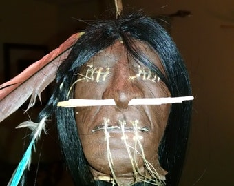 Shrunken Head Replica With Real Human Hair!